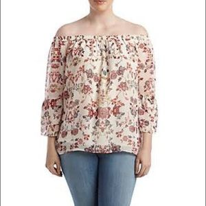 ALYX Floral Chiffon Blouse Off the Shoulder Top